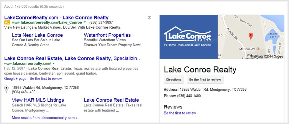 Lake Conroe Realty - Search Engine Placement